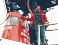UF geology Professor Michael Perfit boarding the ALVIN submersible.