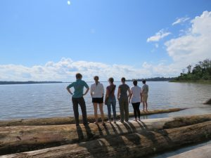 University of Florida PhD students at the reservoir formed by the Santo Antônio Dam on the Madeira River. Photo by Christine Swanson.