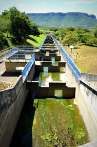A fish ladder at the Lajeado (Luís Eduardo Magalhães) Dam. The efficacy of the ladder has been extremely low. Photo by Kelsie Timpe.